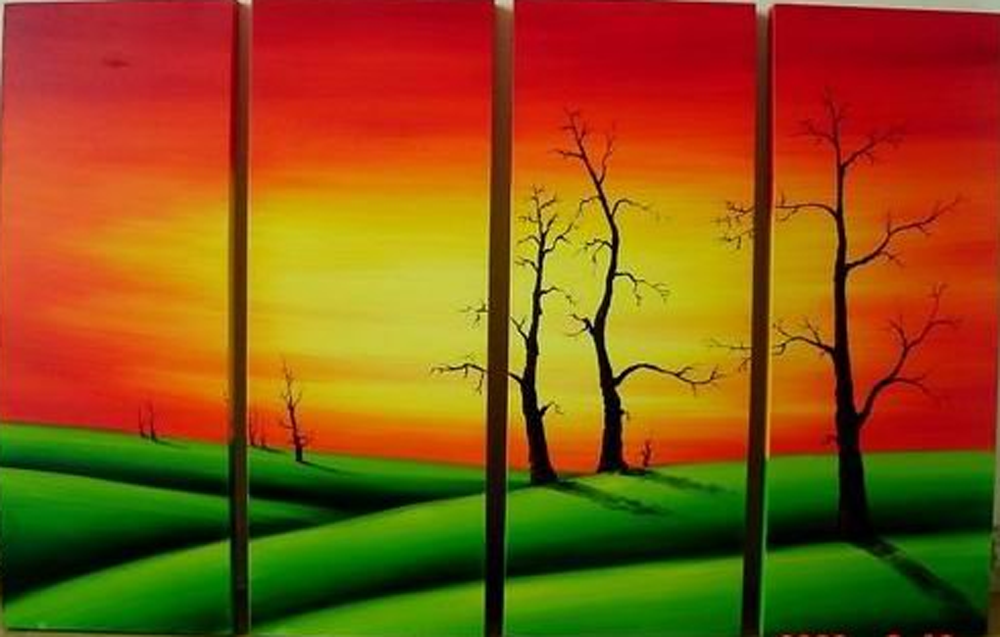 Green Grass 4 pieces set Painting