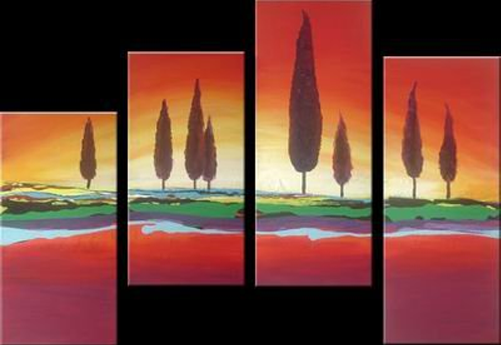 Eight Tall Trees 4 pieces set Painting