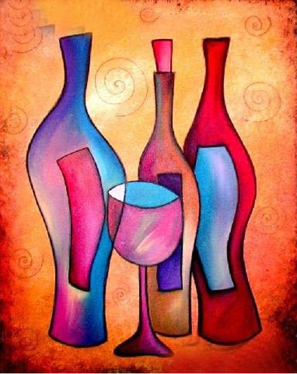 Bottles with Glass Painting