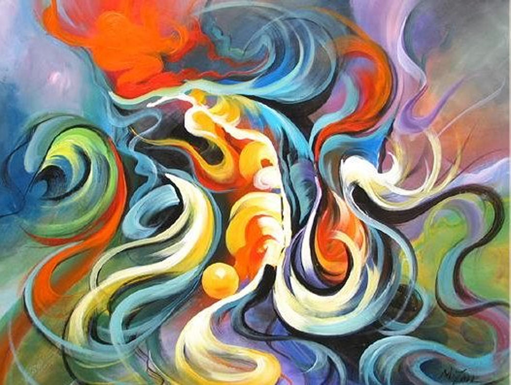 Abstract Colored Hair Painting