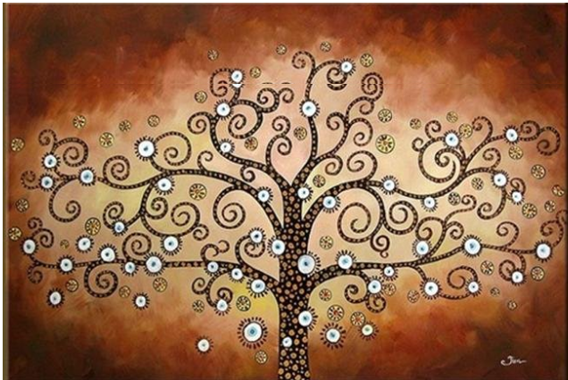 Modern Red Tree Painting