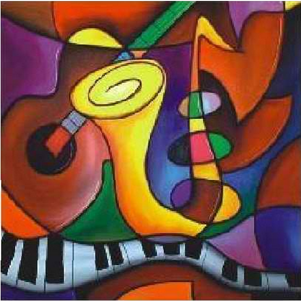Modern Musical Instrument Abstract Painting