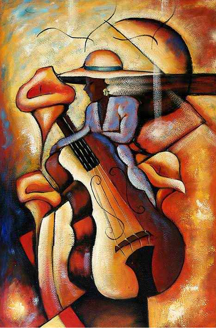 Man on a Guitar Painting