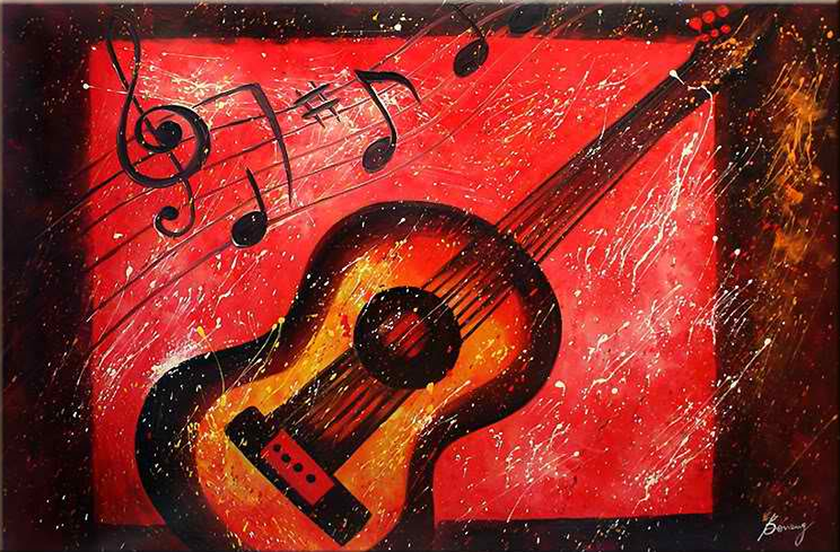 Red Guitar Painting