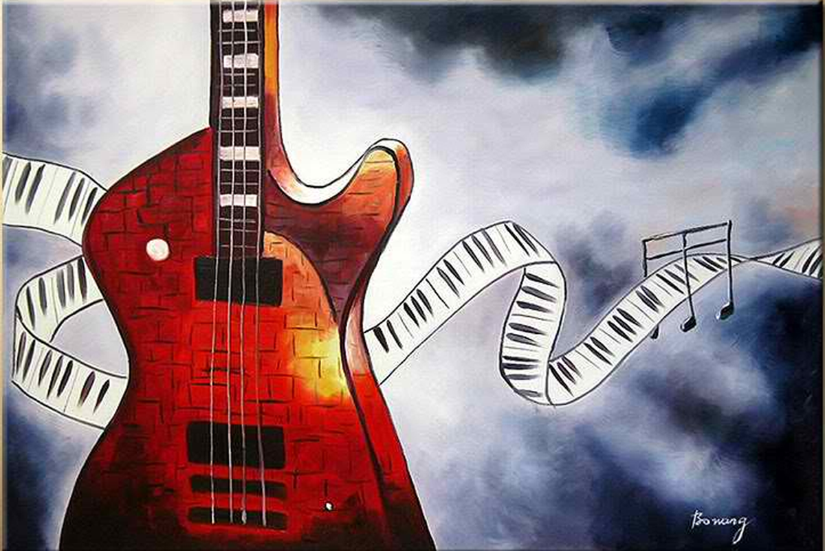 Guitar with Notes Painting