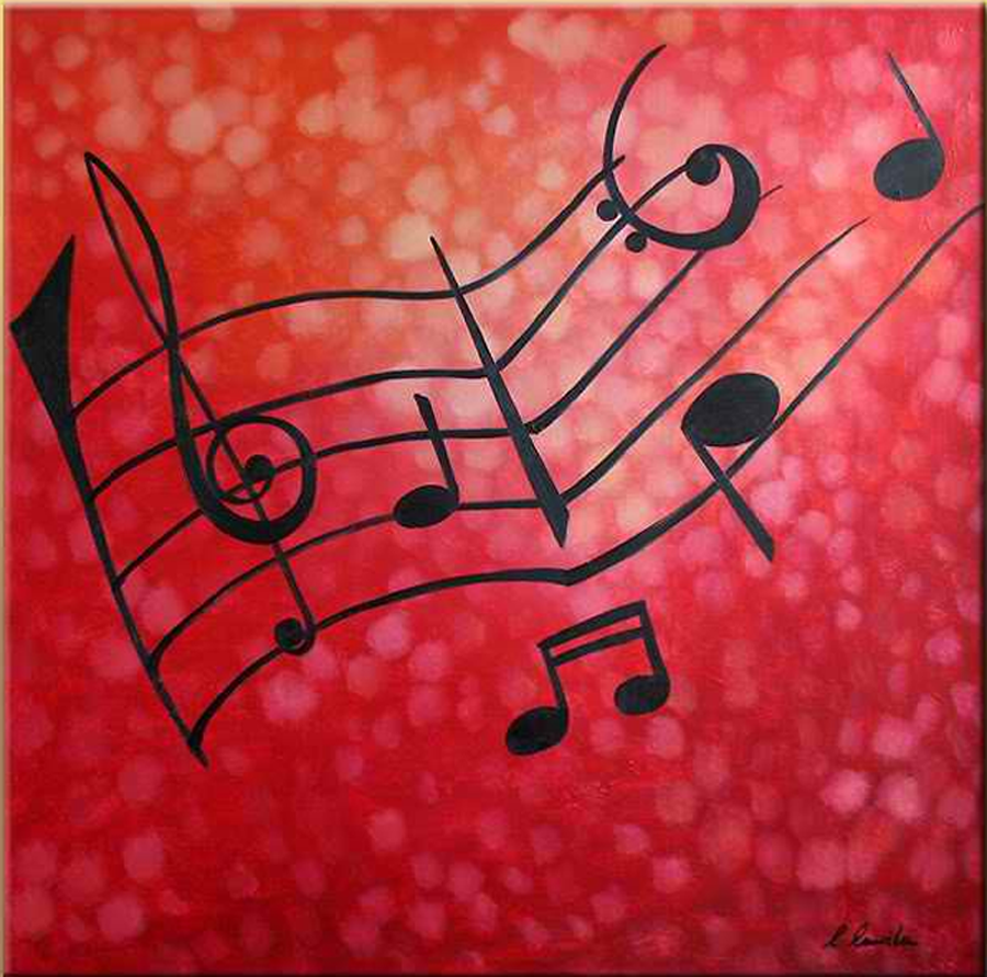 Red Musical Notes Painting