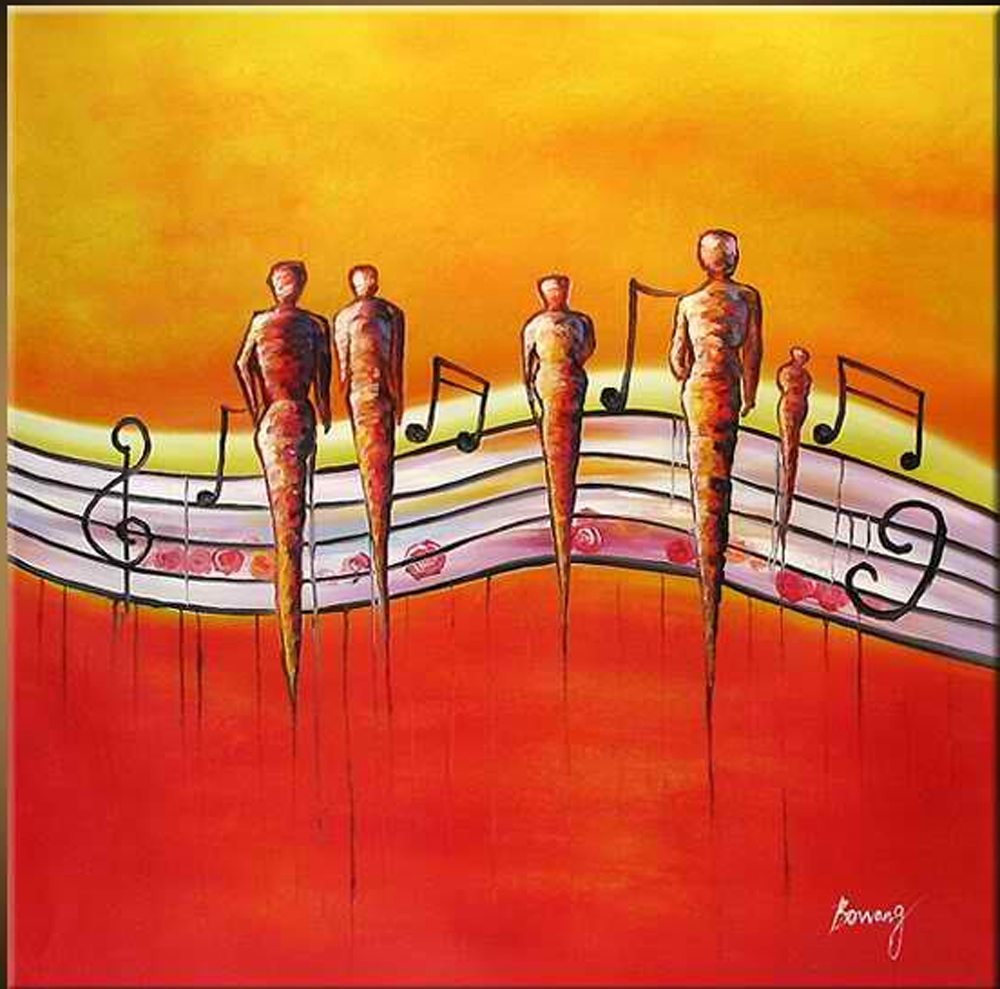 People Walking with Notes Painting