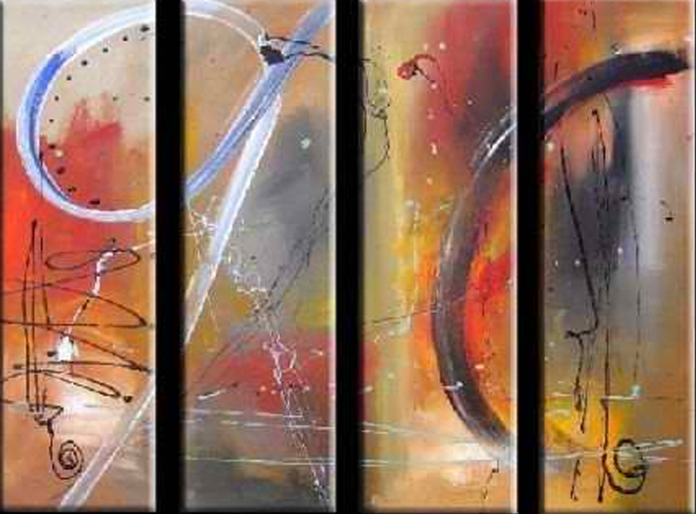 Abstract Orange Wall 4 piece set Painting