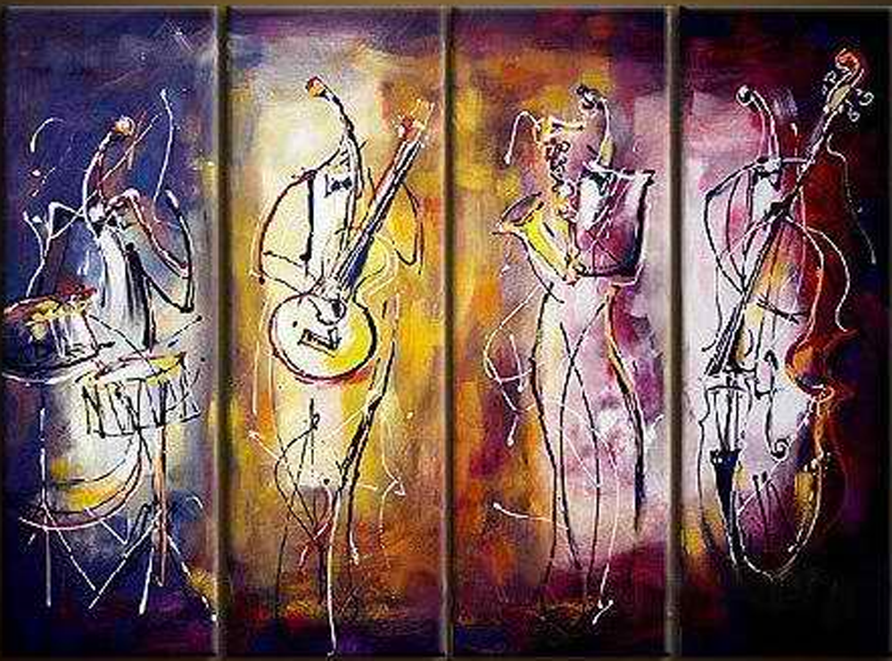Abstract Musicians 4 piece set Painting