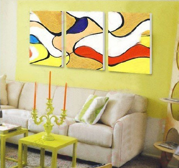 Abstract Yellow Color 3 piece set Painting