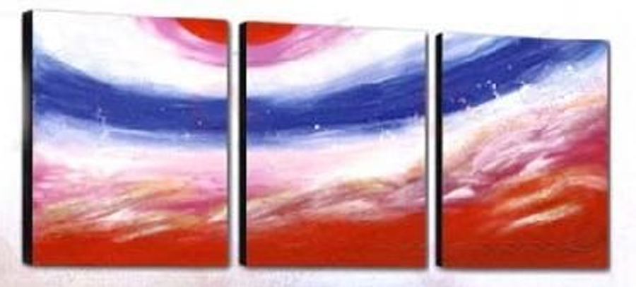 Abstract Blue Between Red 3 piece set Painting