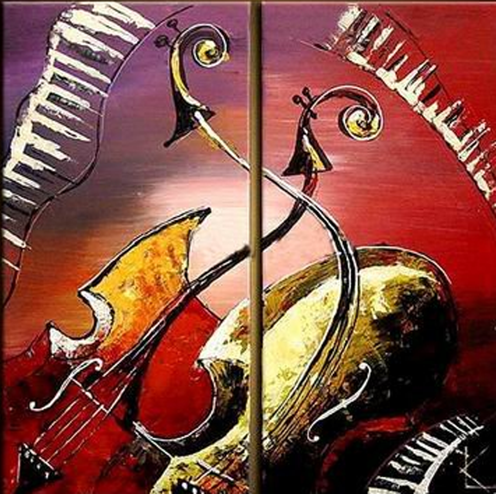 Abstract Double Violin 2 piece set Painting