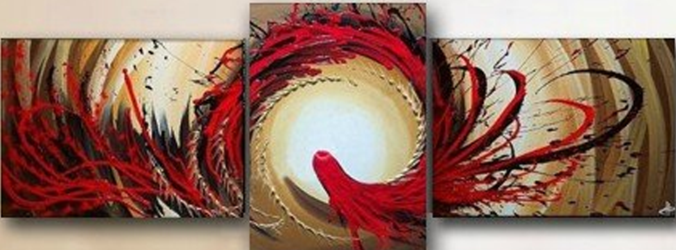 Abstract Red Hair Creature 3 piece set Painting