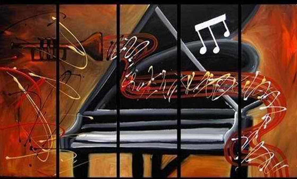 Abstract Piano with Trumpet 5 piece set Painting