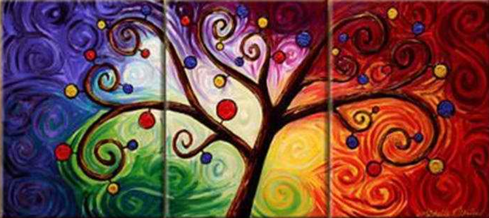 Abstract Tree with Fruits 3 piece set Painting