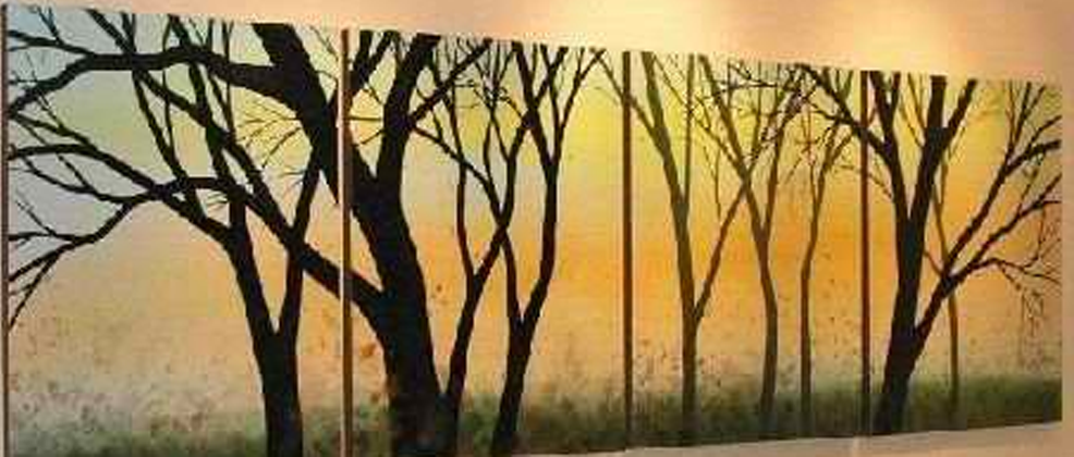 Black Tree 4 piece set Painting