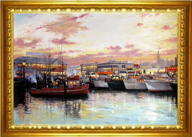 Port In The Sunset Hand Painted Oil Painting