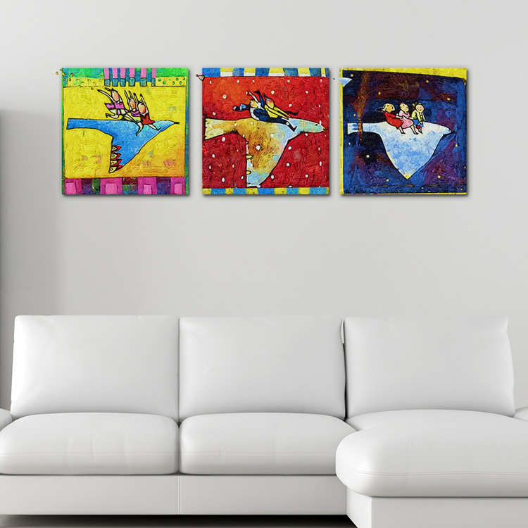 Fly Birds Creative Wall Art Hand Painted Canvas Oil Paintings