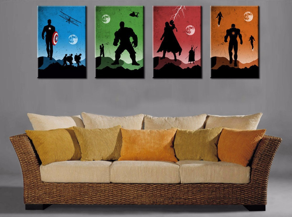 Thor Captain America Hulk Iron Man Hand Painted Canvas Oil Painting