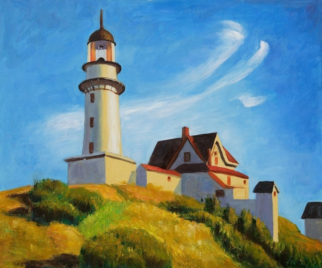 Lighthouse At Two Lights Hopper Hand Painted Canvas Oil Painting