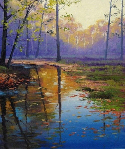 Trees In Still Water During Sunset Hand Painted Canvas Oil Painting