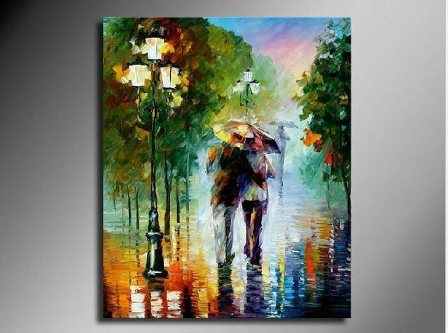 2 Men Walking In A Rainy Night Hand Painted Canvas Oil Painting