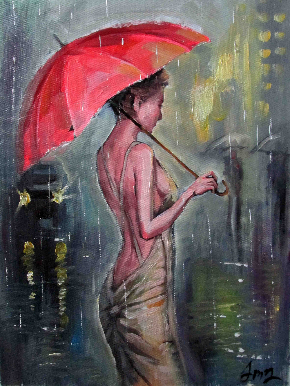 A Gourgeous Woman In The Rain Hand Painted Canvas Oil Painting