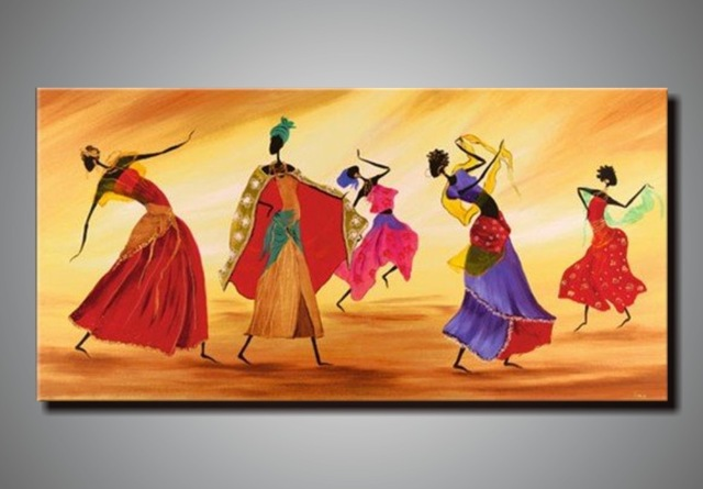 African Woman Dance Hand Painted Canvas Oil Painting