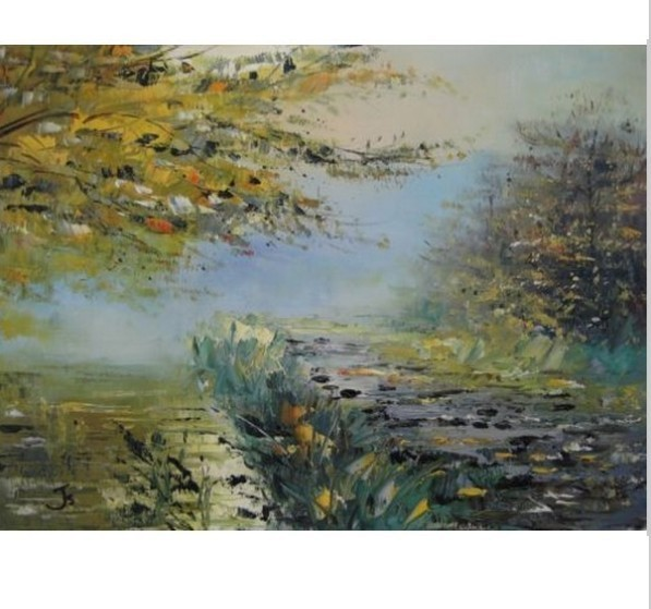 Spring Morning Light Reflections In River Water Hand Painted Canvas Oil Painting