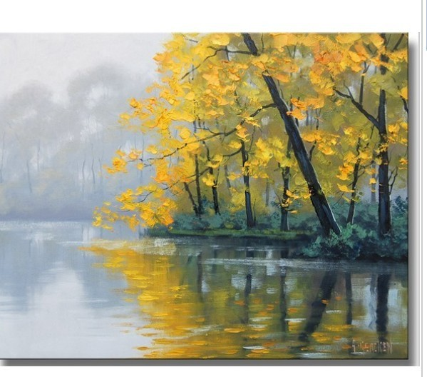 Yellow Autumn River Hand Painted Canvas Oil Painting