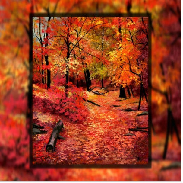 Autumn Fall Red Color Leaves Path Trees Hand Painted Canvas Oil Painting